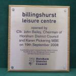 Billingshurst Leisure Centre Stainless Steel Plaque