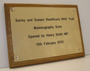 Brass Plaque for NHS