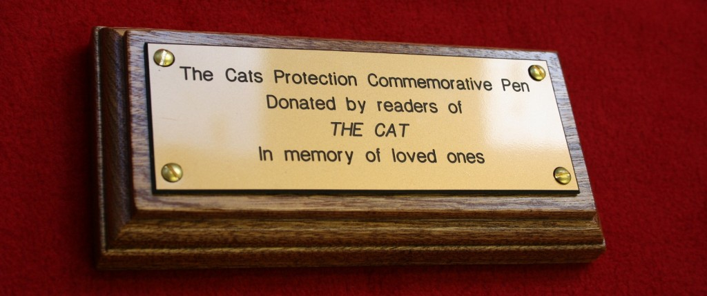 Cats Protection League Brass Plaque